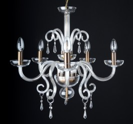 5 Arms Hand-blown smooth glass chandelier Antik