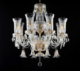 Luxury Czech chandelier with gilded cut