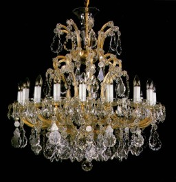 Large Theresian crystal chandelier with 18 lights - luxury interiors