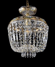 Golden basket chandelier made of Czech cut glass