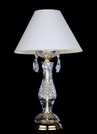 1 bulb crystal design table lamp with cut almonds and the white lapshade