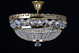 3 Bulbs Strass basket crystal chandelier with large cut octagons - Gold brass
