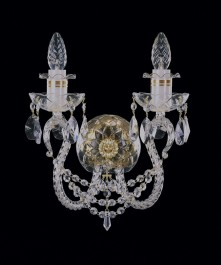 Bohemian crystal wall sconce with 2 bulbs