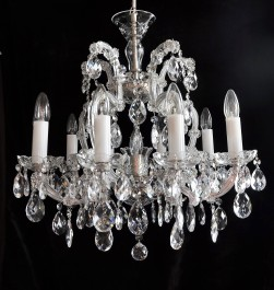 Smaller silver Theresian chandelier with 10 + 1 light bulbs