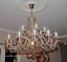 18 Arms Crystal chandelier made of sand blasted glass & cut Fuchsia almonds