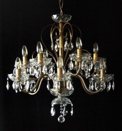 12 Arms plain crystal chandelier with cut crystal almonds ANTIK