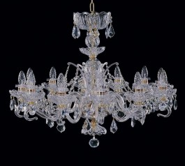 Chandelier of hand cut blown glass 12 bulbs