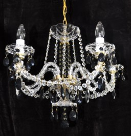 5 Arms Crystal chandelier with black almonds
