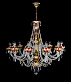 Larger luxury crystal chandelier made of ruby red glass for the living room