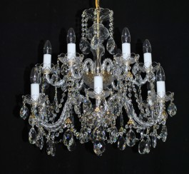 12 Arms silver crystal chandelier with cut crystal body & crystal almonds