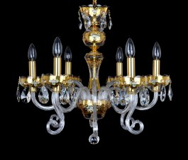 luxury gold crystal chandelier with 3D painting on GOLD base
