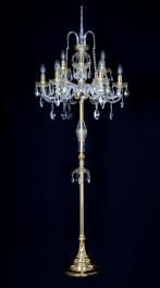 9 Arms Crystal floor lamp with the Gold painted cut