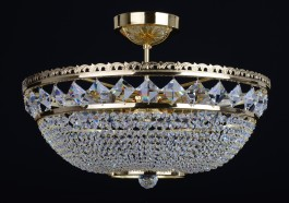 9 Bulbs Swarovski basket crystal chandelier with square stones - Gold brass