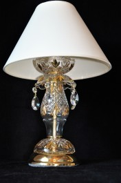 Crystal table lamp with the lampshade decorated with gold painting