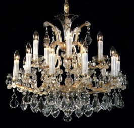 Theresian crystal chandelier with 15 lights for sale
