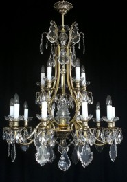 15 Arms Cast brass chandelier Kamenicky Senov