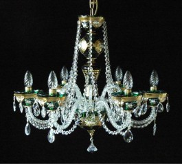 6 Arms Green enameled crystal chandelier with glass flowers on the gold base