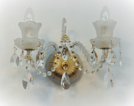 2 Arms Crystal wall light made of sand blasted glass & cut crystal almonds