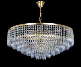 Drum crystal chandelier over dining table