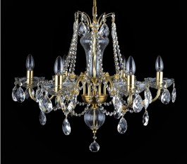 Detail - 6 Arms Matte brass crystal chandelier with cut crystal almonds