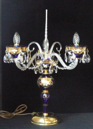 Blue table lamp with 3 glass arms