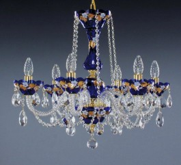 Bohemian Blue crystal chandelier 6 bulbs