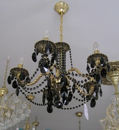 5-arm cast brass chandelier with black trimmings