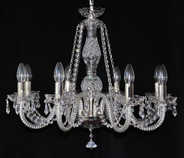 8 Arms plain crystal chandelier with cut crystal drops