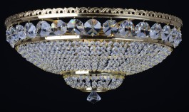 9 Bulbs surface-mounted basket crystal chandelier with large cut octagons - Gold brass