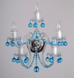 5 Arms Crystal wall light with Aquamarine blue cut crystal balls