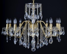 10 Arms gold brass crystal chandelier with cut crystal almonds