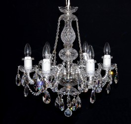 6-Arms Swarovski crystal chandelier with original cut almonds