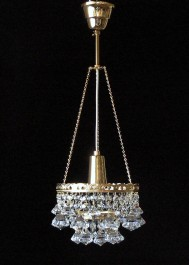1 Bulb basket crystal chandelier with diamond shaped trimmings