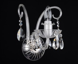 1 Arm Silver wall light with crystal almonds