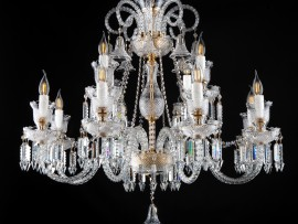 Chandeliers and lamps made of art glass with diamond cut