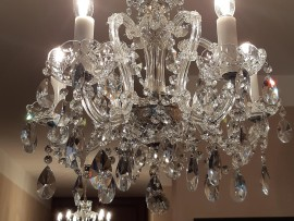 Small and medium-sized Theresian crystal chandeliers with silver finish
