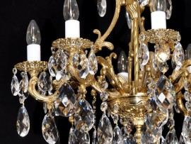 Comparison of cast brass chandeliers with two types of finishes: pure GOLD & highlighted RELIEF