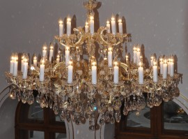 Detail of the crystal spikes on the Theresian chandelier