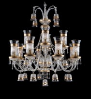 12-arm crystal chandelier with crystal diamond cut vases & gilded bells