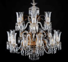 18-arm crystal chandelier with diamond cut vases, amber glass