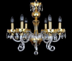 another type of 6-arm GOLD crystal chandelier with glass flowers