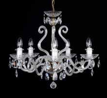 The 5 arms crystalchandelier with large glass horns - detail