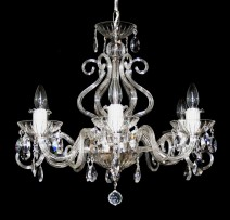 The 6 arms crystalchandelier with large glass horns