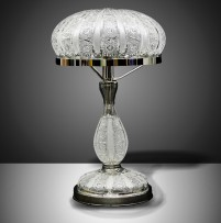 Luxurious cut crystal table lamp with the rounded lampshade