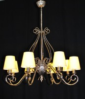 The custom-made silver tubular chandelier with yellow textile 8  lampshades