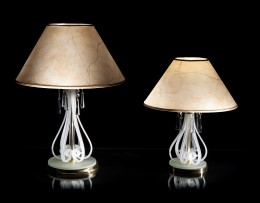 Table lamps with lampshades made of white frosted glass