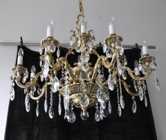 8+4 Arms Cast brass chandelier - Gold Lyre