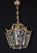 Cast brass lantern with hand cut flat glass whole light