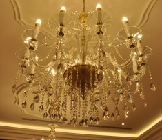 Crystal chandelier in the older interior