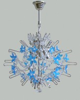 The design chandeliers decorated with hand madeblue glass flowers